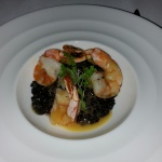 Shrimp with black rice